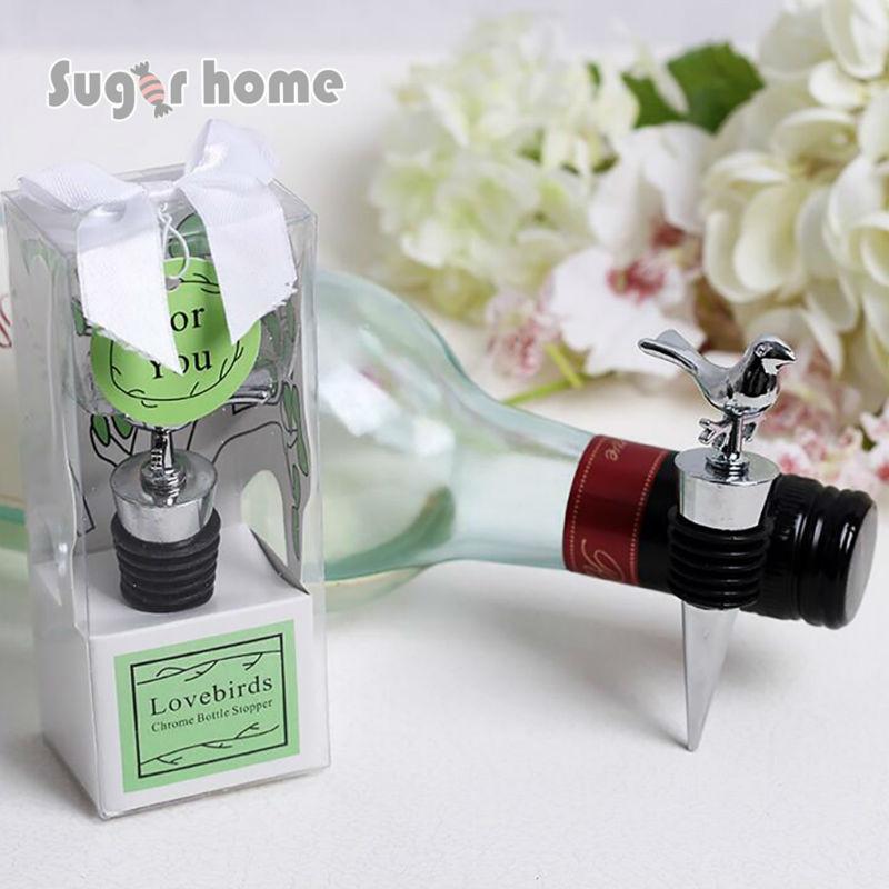 Wine Wedding Gifts: Stainless Steel Love Bird Wine Stopper Bridal Wedding Gift
