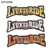 ZOTOONE Embroidery Live To Ride Application Patches for Clothes Jacket Iron on Patch Stickers Diy Back Badge Garment Accessories