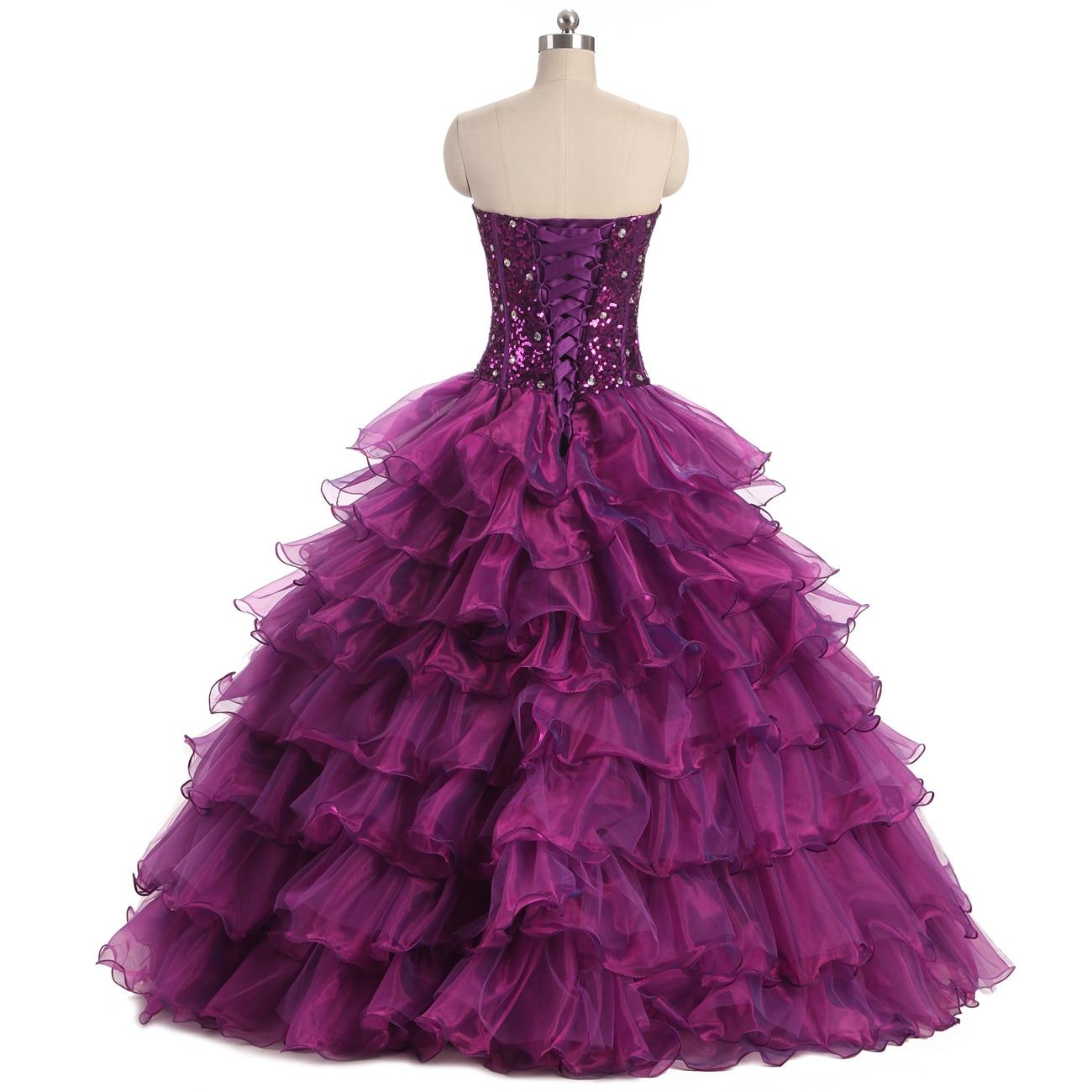 2017 nieuwe sweetheart paarse jurken organza sweet 16 jurken - Jurken voor bijzondere gelegenheden - Foto 2