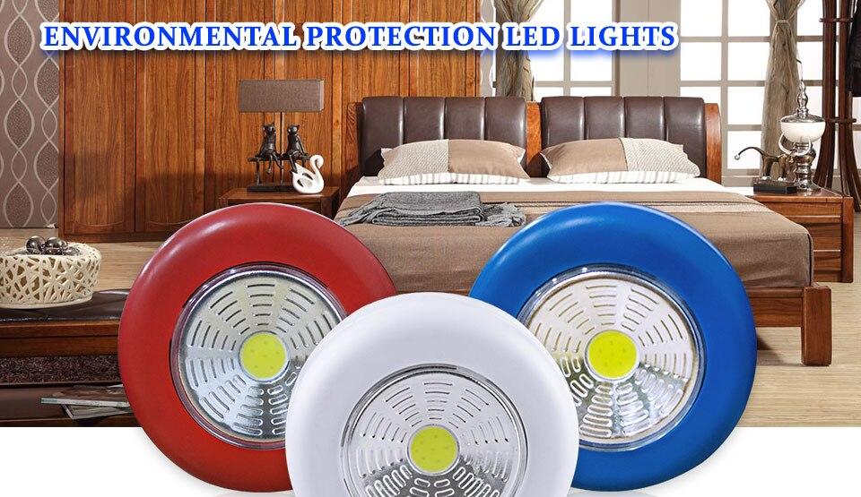 LED Novelty Lighting Wall Light Night Lights COB LED Stick Sticker Tap Touch Cabinet Wardrobe Corridor 3x AAA Batteries (1)