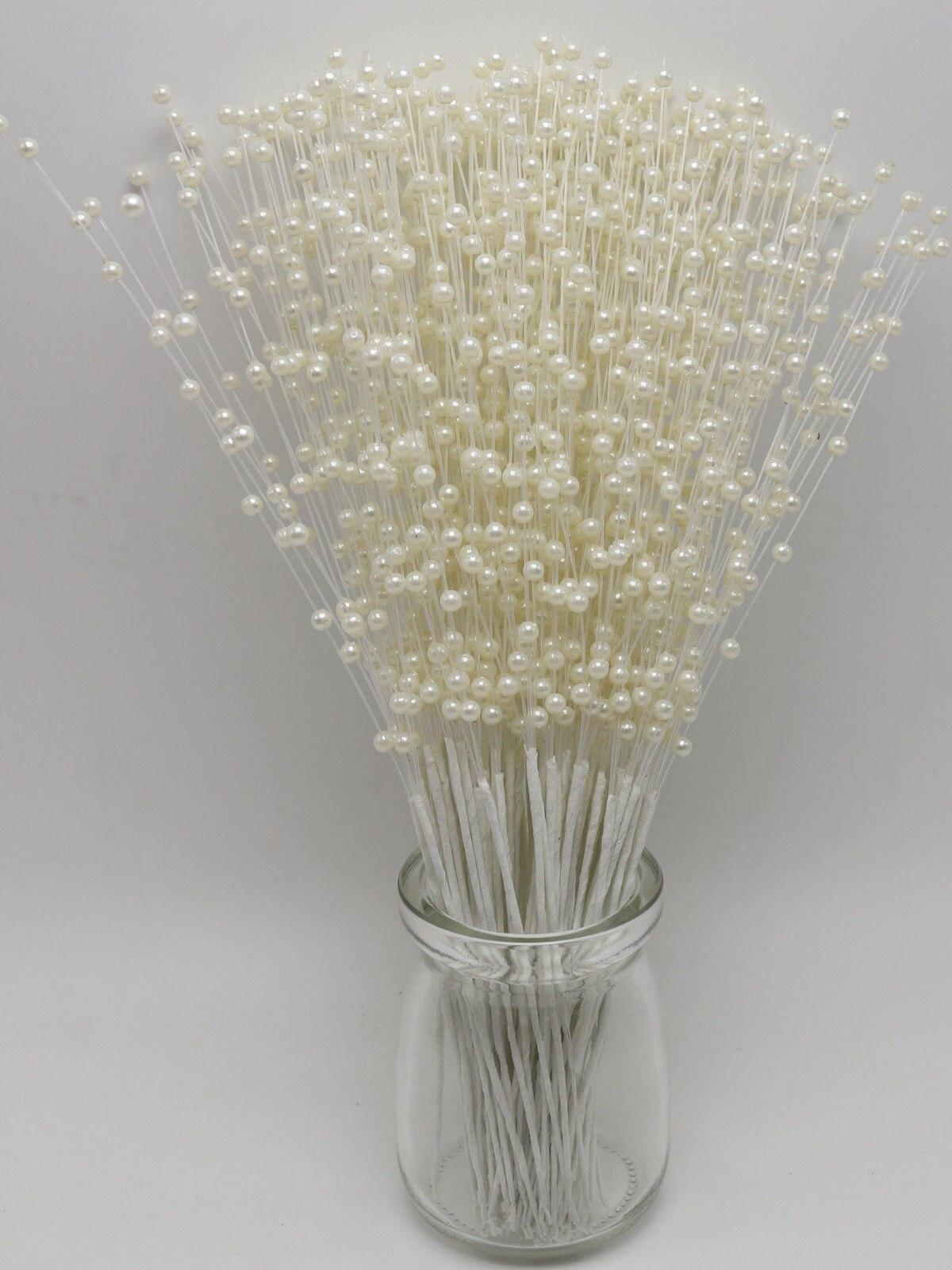 Ivory Pearl Flower Stem Beads Garland Sprays Bridal Bouquet Wedding Party Decor