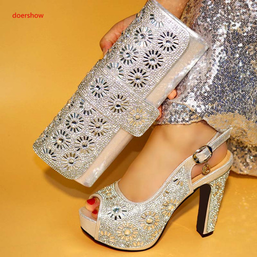 doershow silver African Women Matching Italian Shoes and Bag Set Decorated with Rhinestone Italian Ladies Shoe and Bag XA9-5 original usb charging dock charger port flex cable for iphone 7 high quality headphone audio jack connector flex cable
