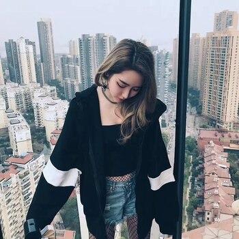 Autumn Unisex Hoodies Women Warm Sweatshirt Casual Long Sleeve Loose Hoodies Outerwear Black