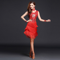 Latin Sequined Dress Long Tassel Camisole Style Ballroom Competition Dancing Dress Costume Wear Competition Standard Dance Dress
