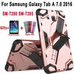 Pancerz krzemu pokrywy skrzynka dla Samsung Galaxy Tab w A6 7.0 T280 T285 SM-T280 SM-T285 Coque Capa Funda rąk i stojak uchwyt