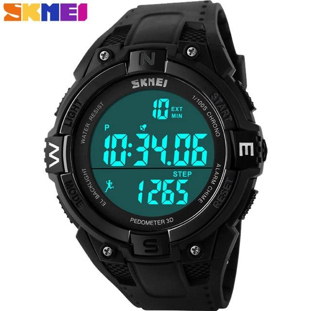 SKMEI 2017 New popular Brand Men fashion sports Watches digital LED display 50M waterproof Wristwatches pedometer black dial