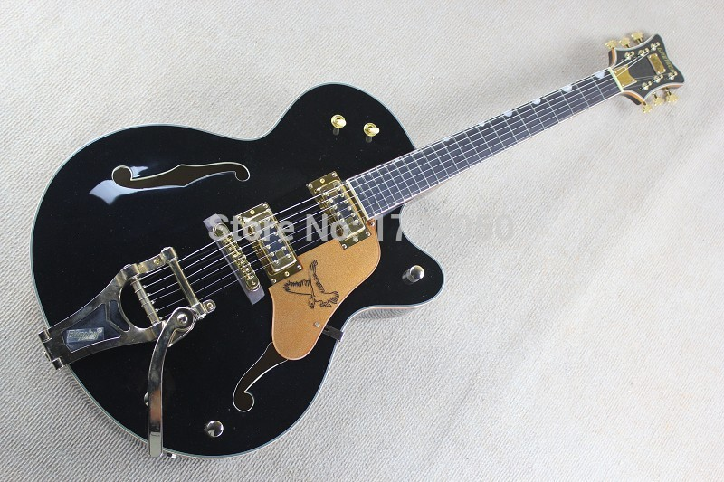 Factory Custom black Gretsch Falcon 6120 Semi Hollow Body Korean Tuners Jazz Electric Guitar With Bigsby  Ebony fingerboard free shipping gretsch 6120 hollow body orange stain electric guitar in stock