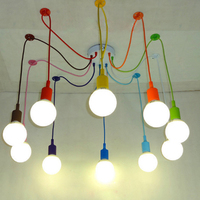 Free Shipping Colorful Pendant Lamp 10 Heads Multi Colored Silicone E27 Art Pendant Lights For Modern