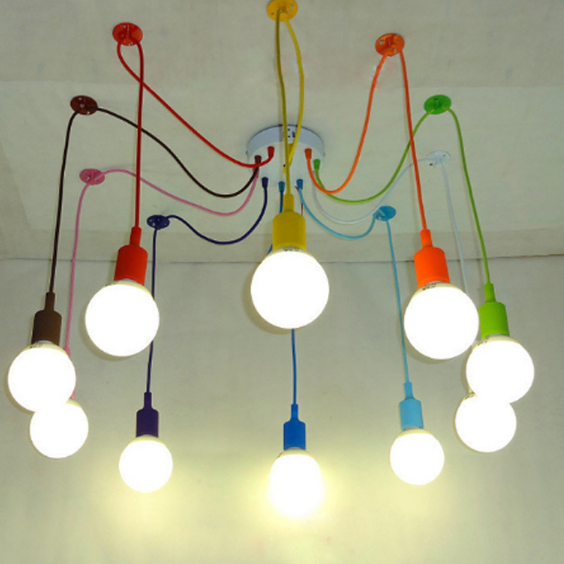 Edison Retro Spider Chandelier Lighting Colorful Pendant Lamp 3 to 12 Head Multi-colored Silicone E27 For Bar Restaurant Bedroom black spider chandelier lamp with iron cover vintage retro pendant edison creative 1 6 10 head diy ceiling pendant lamp wpl079