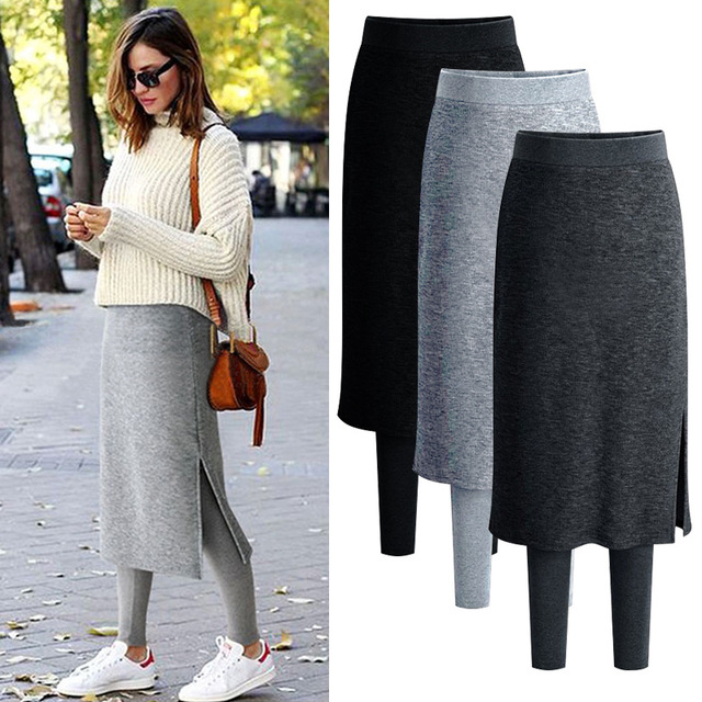 058bec979 S-6XL Plus Size Warm Winter Long Skirt Fake Two-piece Fleece Thickening Knit