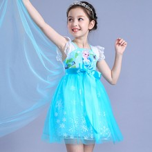 ef73fdaea8193c3 Модное платье Анны и Эльзы для девочек, карнавальный костюм, кружевные  платья принцессы Эльзы с