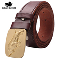 BISON DENIM 2017  100% Cowhide Genuine Leather Belt Vintage Alloy board buckle belt men Wavy stripes imprint W71029