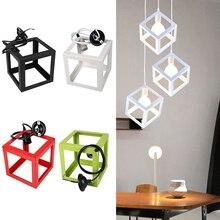 E27 лампы абажур-куб потолочная квадратная лампа для дома светильник переднего бампера бар W/кабель с ПВХ изоляцией