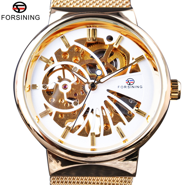 Forsining 2017 роскошный золотой скелет нейтральной Дизайн Нержавеющаясталь Для женщин Часы Мужская лучший бренд класса люкс Водонепроницаемый Наручные часы