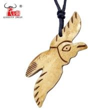1PC men's women's Gift Handmade Carved Yak Bone Necklace Flying Bird Pendant Adjustable Cord Choker