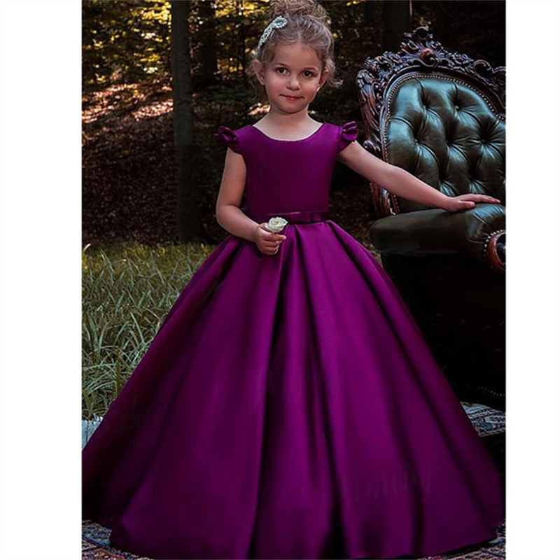 New Arrival Purple   Flower     Girl     Dresses   Appliques Ball Gown Formal Ruffles O-Neck Sleeveless Pageant Communion Party Gowns