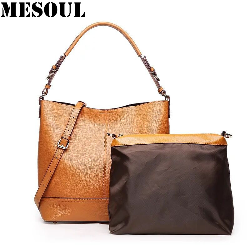 2017 Casual Women Bucket Bag Genuine Leather Messenger Bags Handbags Women Famous Brands Designer Female Shoulder Bag bolsas sac 2017 new fashion female handbags famous brands sac women messenger bags women s pouch bolsas purse bag ladies leather portfolio