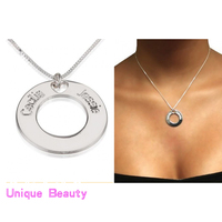 925 Solid Silver Circle Charm Stamped Two Names Necklace Personalized Nameplate BFF Pendent Box Chain Jewelry