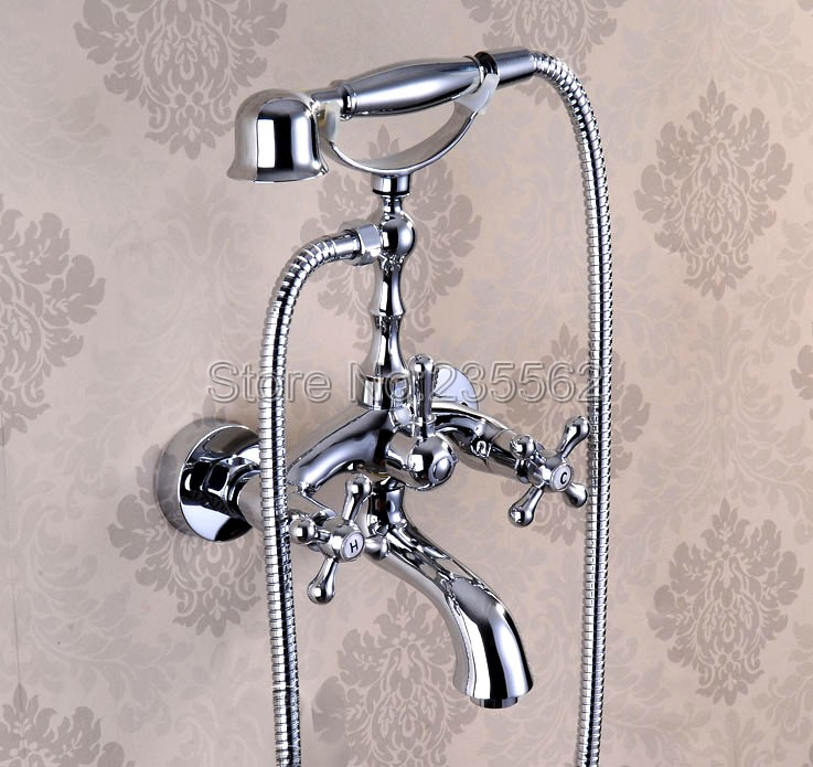 Wall Mounted Chrome Brass Bathroom Shower Faucet Bathtub Faucet Set with Telephone Style Handheld Shower Spray ltf932 sognare new wall mounted bathroom bath shower faucet with handheld shower head chrome finish shower faucet set mixer tap d5205