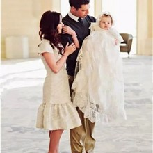 b3069057a Infant White/Ivory Christening Dress Baby Girls Baptism Gown Flower Lace  First Communion Dresses Size