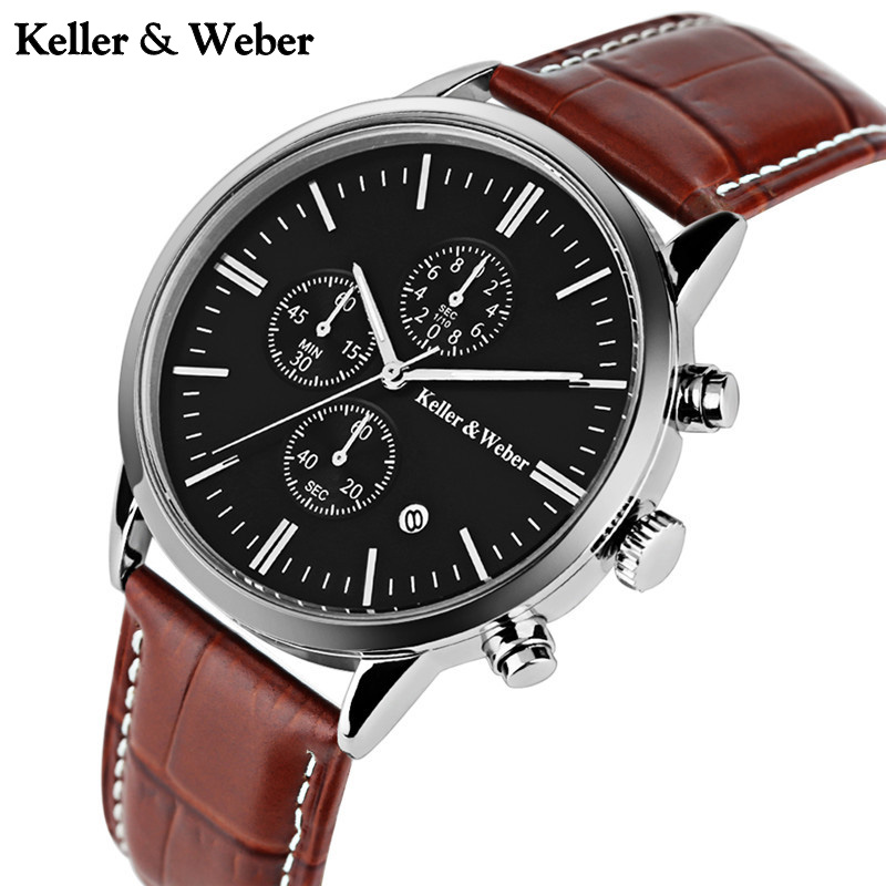 Keller & Weber Classic Date Display KW Wrist Watch Genuine Leather Band Fashion Business 30ATM Brief Casual Men's Sport Watches keller