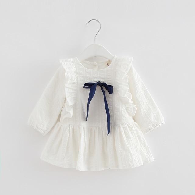 2019 wiosna dzieci dziecko księżniczka sukienka plisowana noworodka dziewczynek sukienek ubrania dla dzieci 0-2T niebieski różowy biały