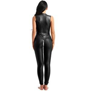 Image 4 - Wetlook 파티 Clubwear 에로틱 란제리 Bodystocking 특허 가죽 스탠드 칼라 지퍼 흉상과 가랑이 레오타드 바디 슈트
