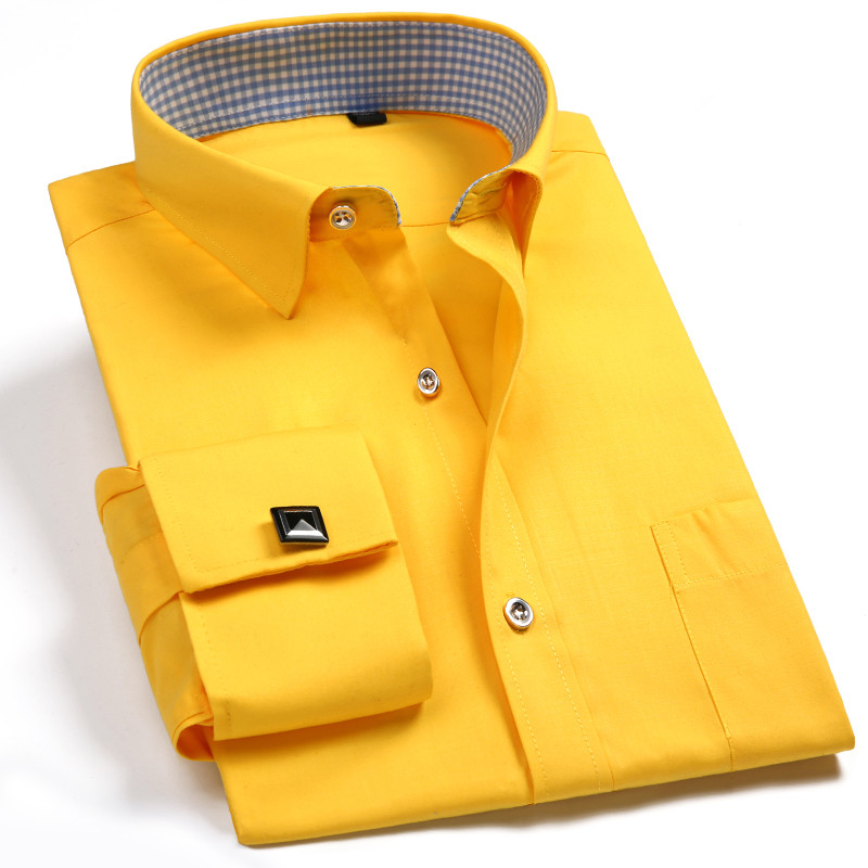 Brand High Quality New 2018 Fashion French Cufflinks Shirts Men Dress Shirt Slim Fit Long Sleeve Solid Color Cotton 4XL