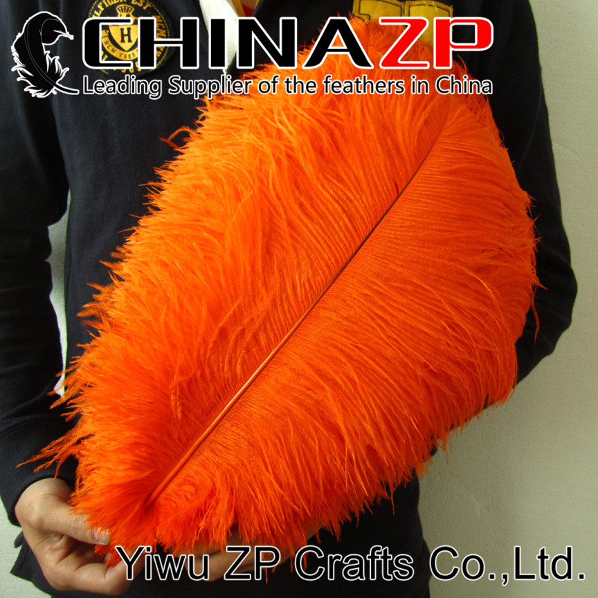 CHINAZP Factory Size from 16 to 18 (40~45cm) 50pcs/lot Top Quality Dyed Orange Ostrich Feathers
