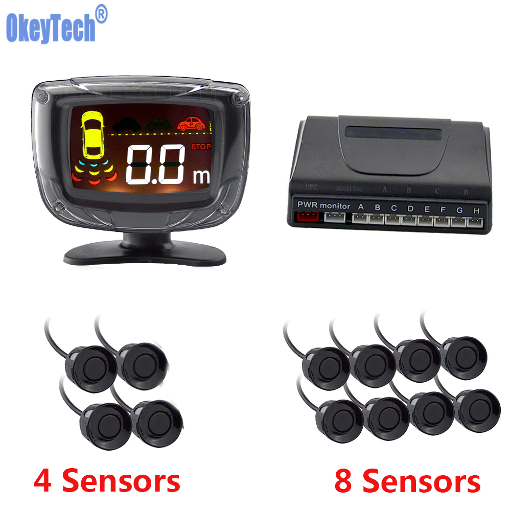 OkeyTech Car Parking Sensor 4/8 Auto Parktronic Radar Detector Reverse Backup Rear Monitor System LED Display Parking Assistance 4 3 lcd monitor car rear parking sensor vedio 4 sensor reversing radar detector parking assistance alarm system for ford ranger