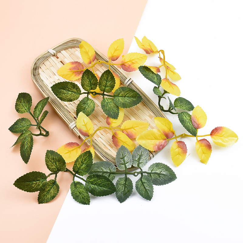 10pcs Artificial Plants Silk Green Leaf Decorative Flowers Wreaths Diy Gifts Candy Box Wedding Home Decor Christmas Fake Leaves