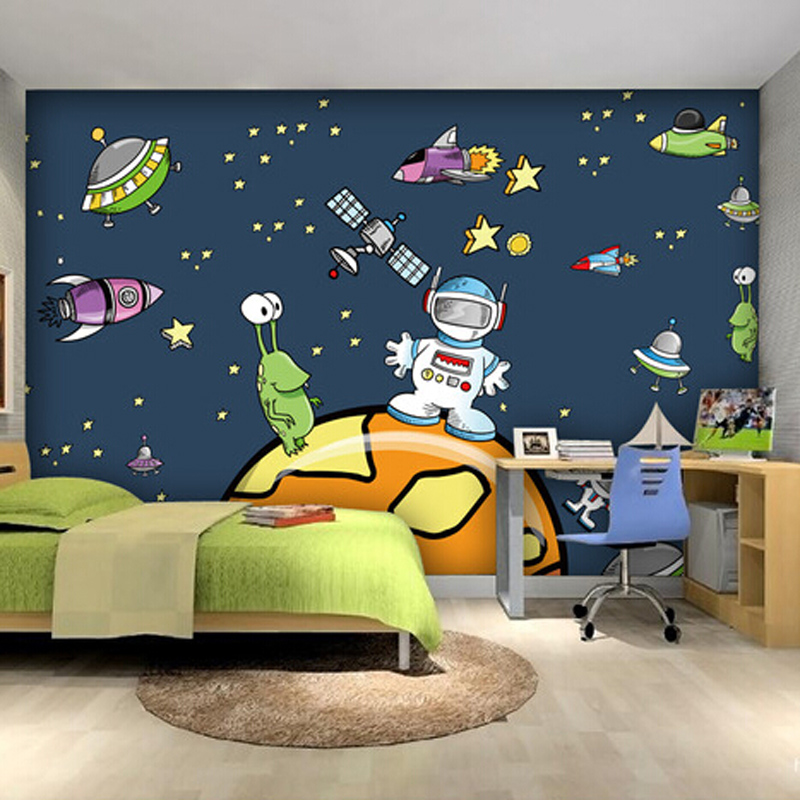 Custom cartoon space spaceship wallpaper children room for Space wallpaper for kids room