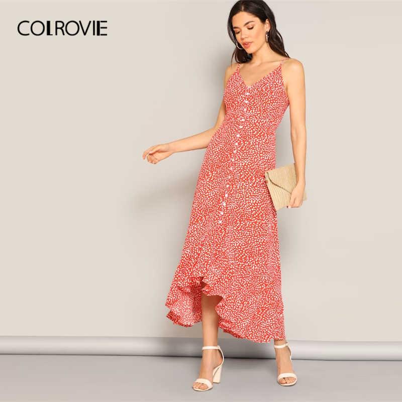 COLROVIE/красное леопардовое платье с рюшами на подоле на бретельках с поясом для женщин 2019 лето с высокой талией Асимметричные Бохо длинное платье