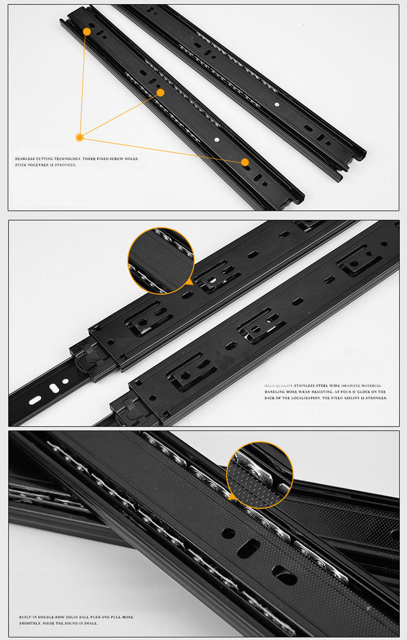 ̿̿̿(•̪ )Materiales para muebles fuerte negro cajón tres carril ...