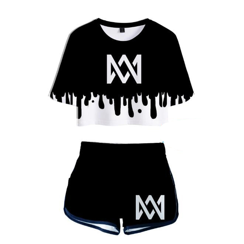 Marcus and Martinus 3D printed Sexy 2 Piece Set Women Conjunto Feminino Women Crop Top And Shorts Set Two Piece Outfits Matching