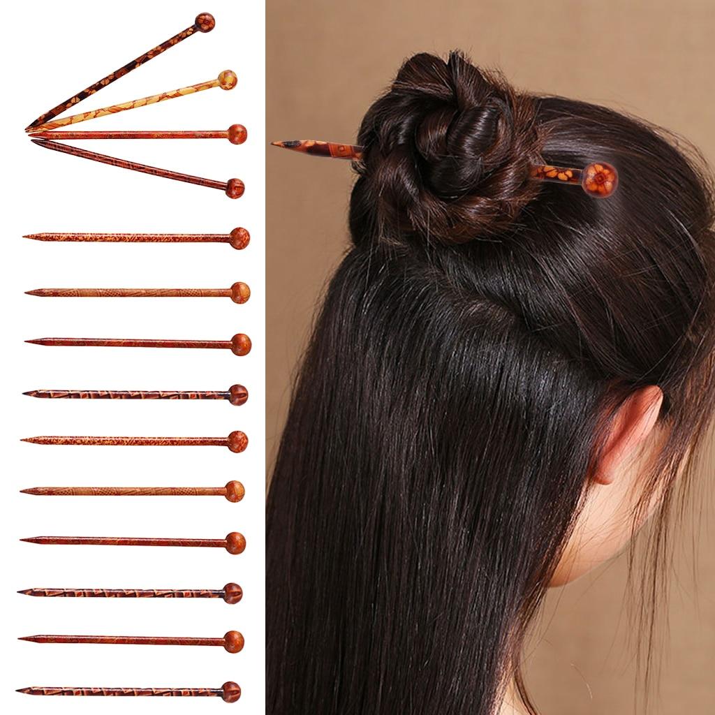 10pcs//Lot Chinese Traditional Hair Chopsticks Vintage Wooden Hair Stick Pin