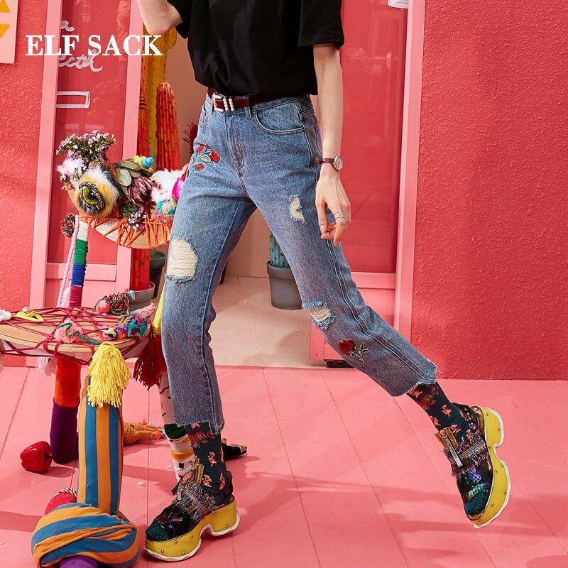ELF SACK 綿カジュアル女性のジーンズスタイリッシュな刺繍穴女性ズボンミッドウエストストレートデニム足首までの長さファムパンツ  グループ上の レディース衣服 からの ジーンズ の中 1