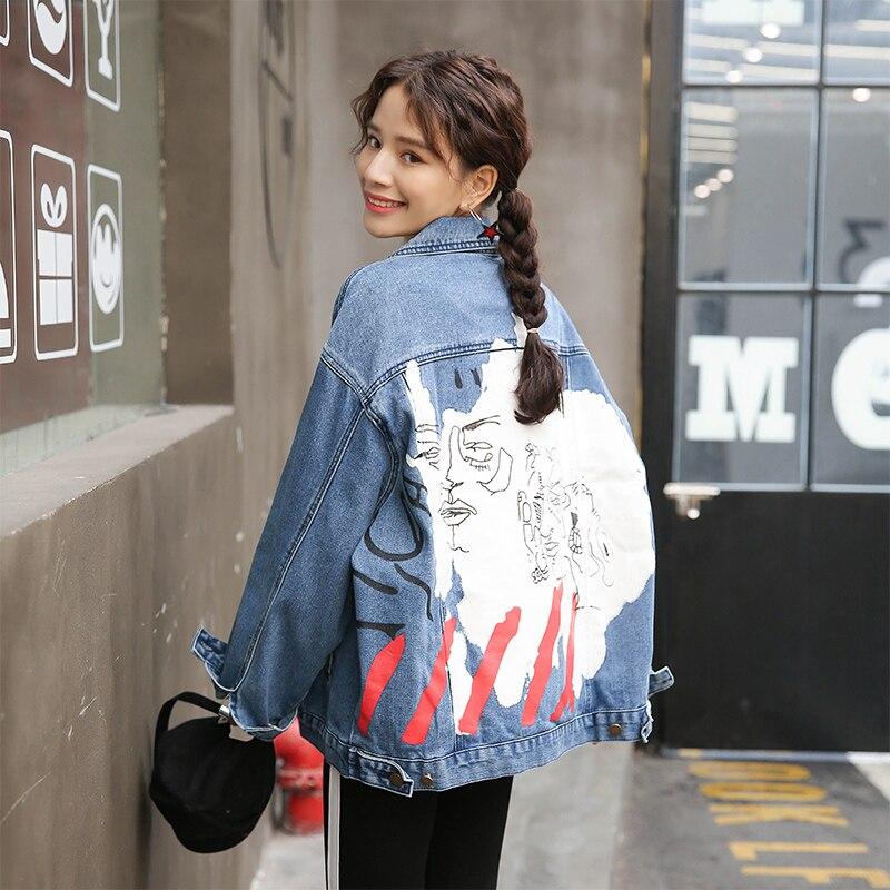 Mode Graffiti imprimer Jeans manteau femmes printemps à manches longues Harajuku veste 2019 nouveauté surdimensionné femmes Denim veste