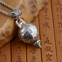 BESTLYBUY Genuine 925 Sterling Silver Pendant For Men Women Wholesale Antique Style Six Buddhist Mantra Evil Can Be Opened