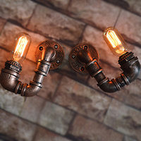 1 Pair Edison Style Retro Loft Industrial Wall Lamp Fixtures Water Pipe Vintage Wall Sconce Wall