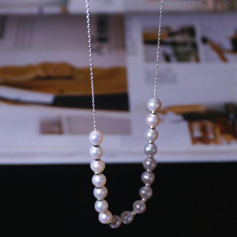 RUNZHUQIYUAN 2017 100% perle d'eau douce naturelle long collier 90 cm 7-8mm perle 925 bijoux en argent sterling pour les femmes meilleurs cadeaux - 3