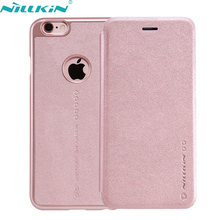 "For Apple iPhone 6 6S 4.7"" Leather Case Original Nillkin Luxury Quality Hard PC Back Cover For iPhone6s Rose Gold Flip Case"
