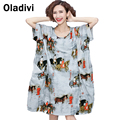 Extra Large Clothing 2016 Summer New Fashion Printed Casual Loose Dress Female Kneen Length Dresses Lady Tunic Shirt Blouse Top