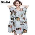 Extra large ropa 2016 nueva manera del verano impresa ocasional floja dress mujer kneen longitud vestidos de señora túnica camiseta top de la blusa