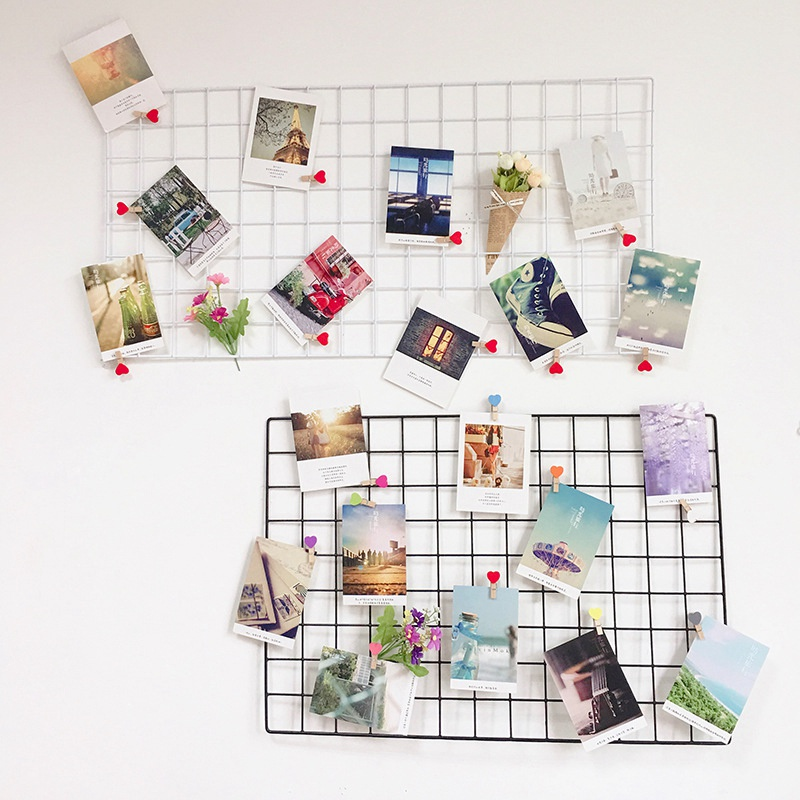 Hanging Photo Frame Metal Wall Mesh Grid Bedroom Living Room Iron Multi-frame Photos Storage Rack Home DIY Decoration