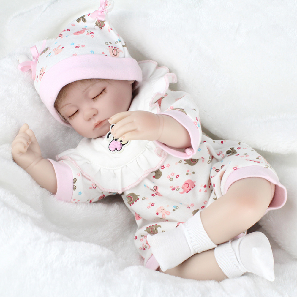Simulation Baby Dolls Soft Realistic Silicone Eyes Closed Sleeping Girl Dolls Lifelike N ...