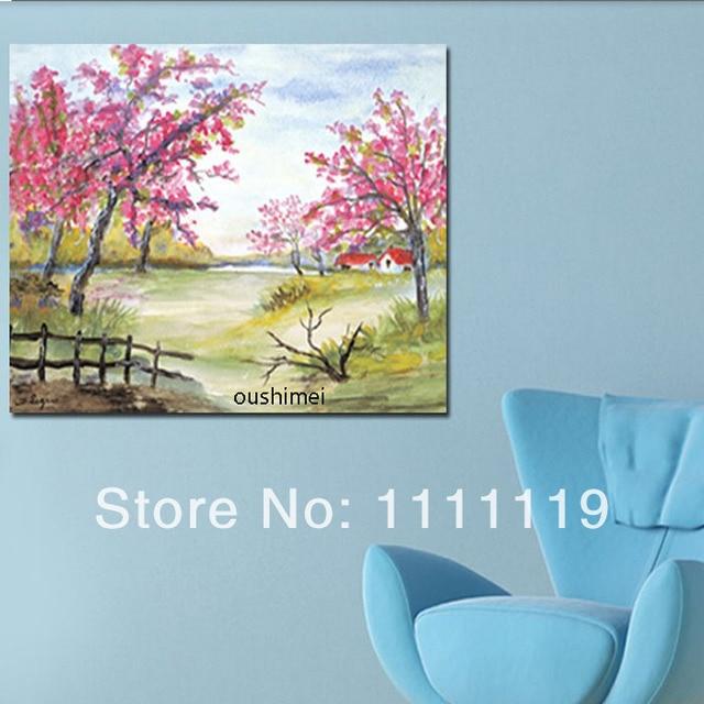 pintado a mano cuadros modernos sobre lienzo paisaje de primavera pintura al leo hecha a mano