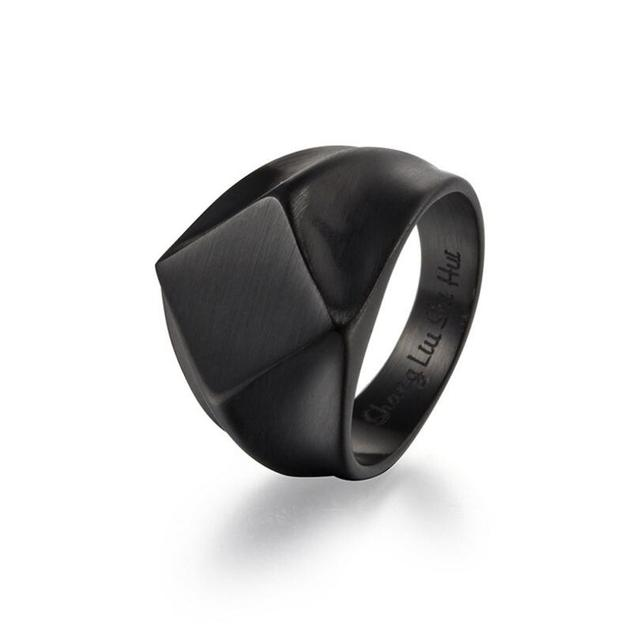 Classic Stainless Steel Black Square Ring 6