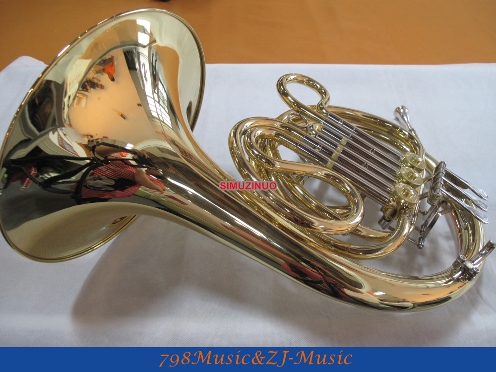 Gold Lacquer 3 Key Mini French Horn F Key Pocket horn With Case one horn double row 4 key single french horn fb key french horn with case surface gold lacquer professional musical instrument