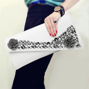 Image 5 - נקבה פרח יהלומי ערב תיק עור אמיתי נשים מצמד תיק נשי אופנה תיק גבירותיי כתף תיק ארנק מעטפת תיק